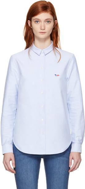 maison kitsune shirt fox blue top