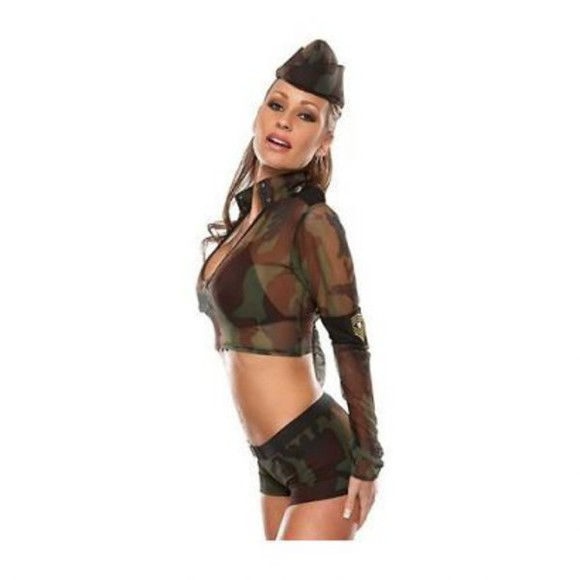 camouflage blouse costume camo costume seethroughtop halloween costume