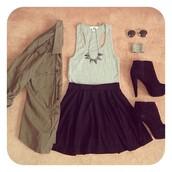 t-shirt,sunglasses,skater skirt,crop tank,army green jacket,green jacket,black heels,skirt,jacket