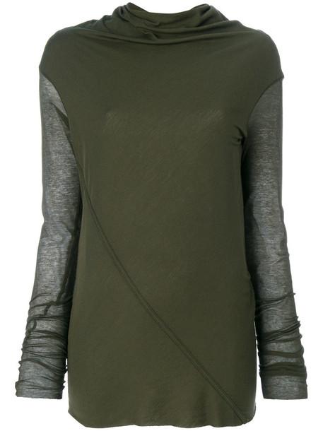 Rick Owens Lilies top draped top women draped cotton green
