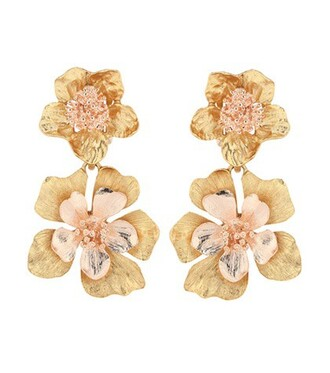 earrings floral gold jewels