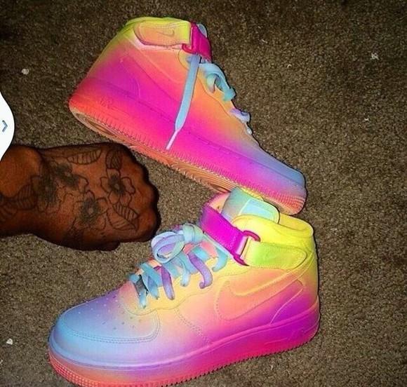 tie dye colorful shoes dope sneakers nike sneakers dope shirt tye-dye
