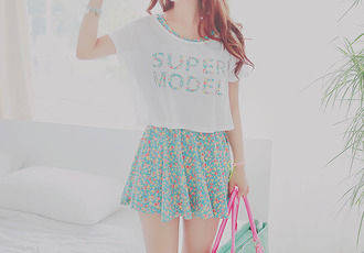 kawaii supermodel asian asian fashion korean style korean fashion floral skirt kawaiilabo kfashion mint