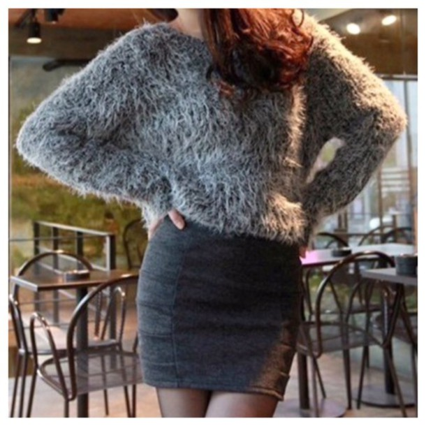Sweater: grey, fashion, fur, winter sweater, cute, girly, grey ...