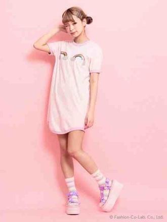 dress kawaii kawaii grunge shirt pastel pastel pink t-shirt dress kawaii girl socks platform sandals pink japan japanese fashion rainbow t-shirt platform shoes