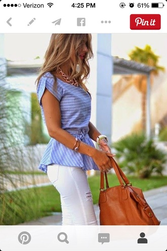 blouse work blue shirt style