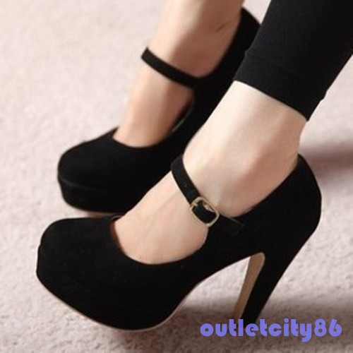 Women sexy suede mary jane ankle strap platform stilettos high heel pump shoes