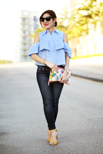 shoes light blue off shoulder shirt ruffle jeans sunglasses colorful purse yellow sandals blogger