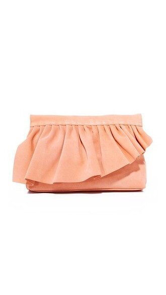 ruffle clutch peach bag