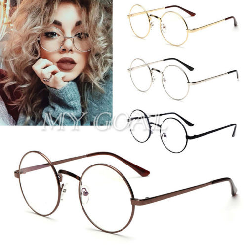 2918e98839a Unisex Big Round Metal Frame Clear lens Vintage Retro Geek ...