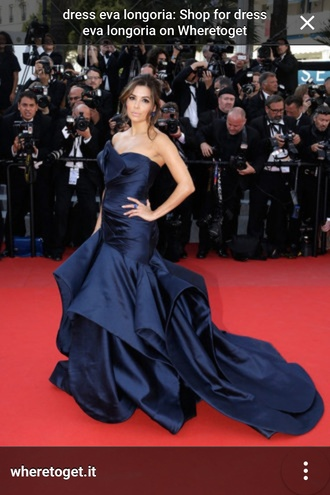 dress blue long red carpet fishtail