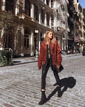 jacket tumblr bomber jacket red jacket denim jeans black jeans skinny jeans boots black boots ankle boots bag black bag