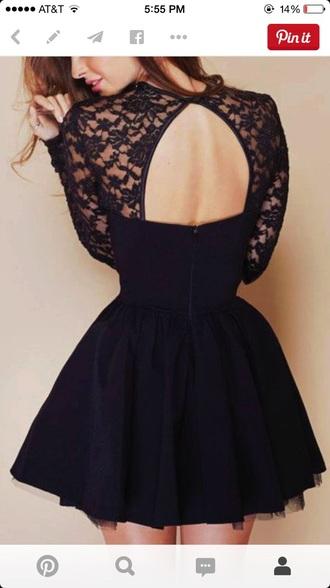 dress black dress long sleeves short dresses lace dress open back dress