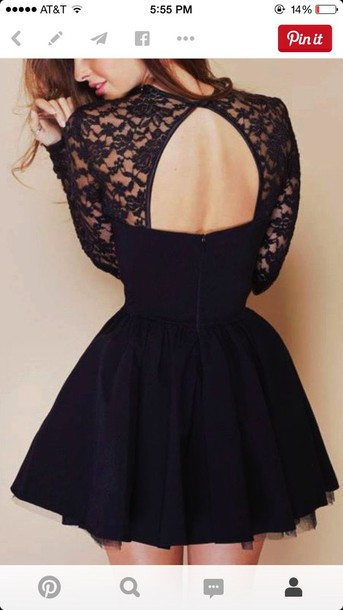 dress black dress long sleeves short dress lace dress open back dresses
