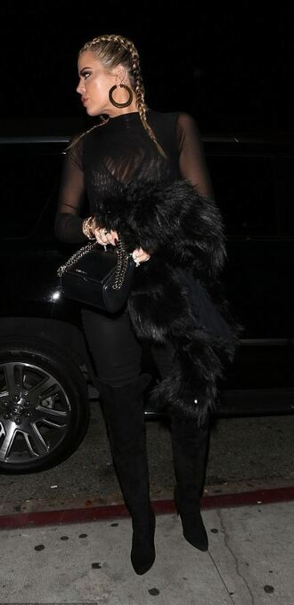 top see through sheer all black everything khloe kardashian boots shoes hairstyles fur belt