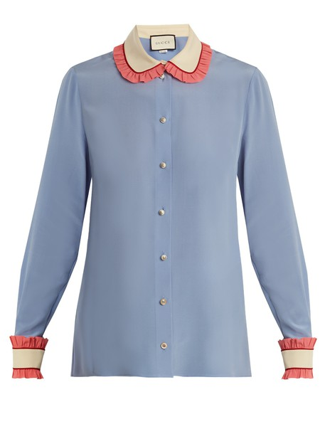 gucci shirt ruffle silk blue top