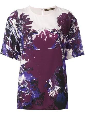 t-shirt shirt floral print purple pink top