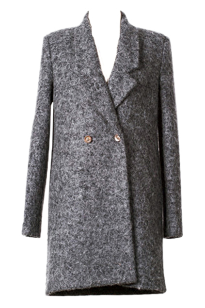 ROMWE | ROMWE Double-breasted Lapel Loose Grey Woolen Coat, The Latest Street Fashion