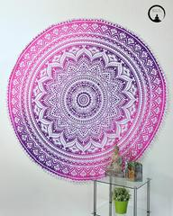 Pink Ombre Mandala Boho Roundie | Round Tapestry with Pom Poms
