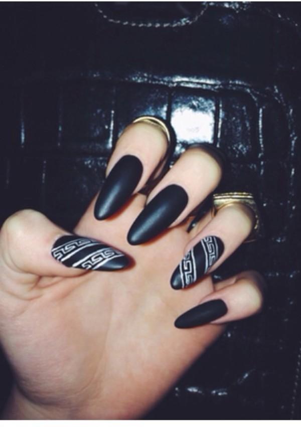 nail polish, versace, black, nail art, white, black and white ...