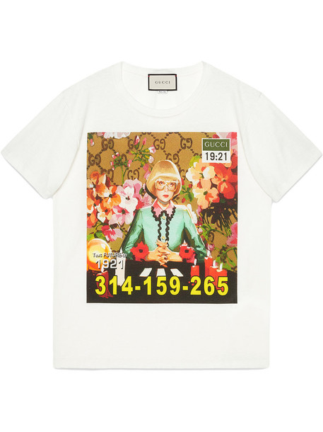 gucci t-shirt shirt t-shirt women white cotton print top