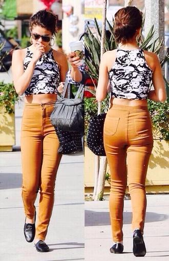 pants khaki selena gomez jumpsuit style outfit crop tops