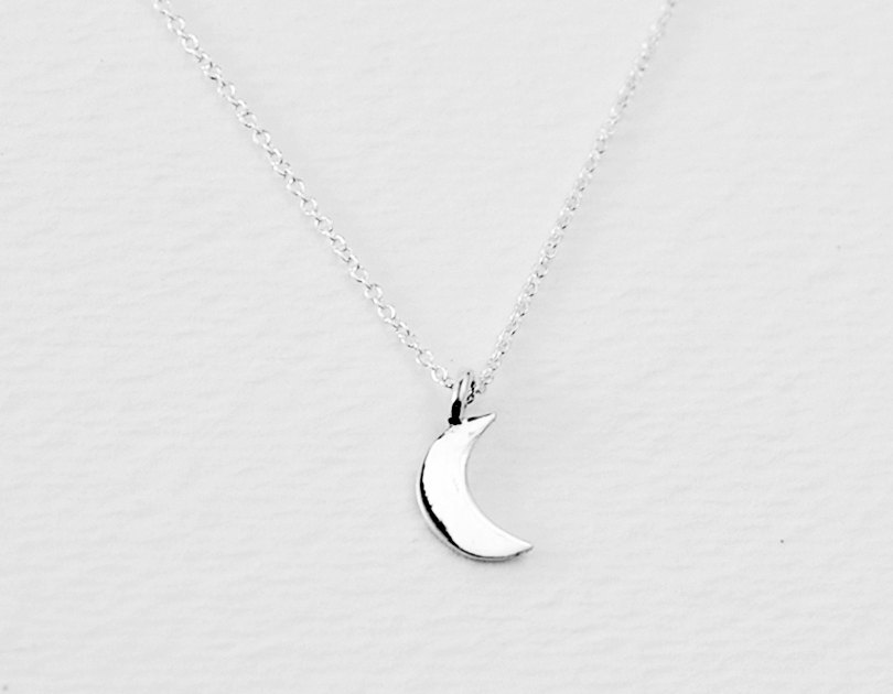 fb7ab1ac1f360 Crescent necklace - half moon charm sterling silver chain- small dainty  jewelry - women gift