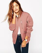 jacket,dusty pink,pink jacket,bomber jacket,pink bomber jacket