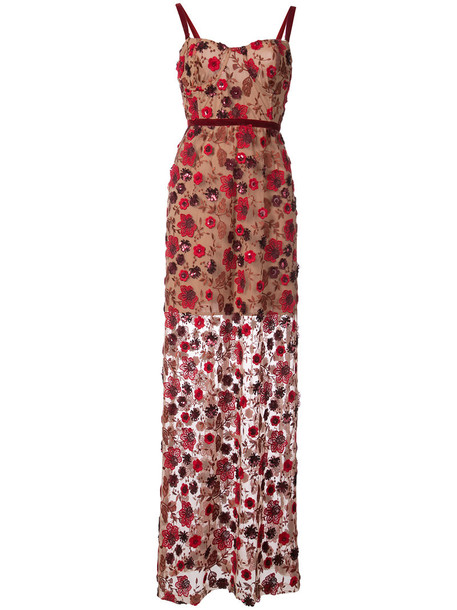 For Love and Lemons dress floral dress embroidered women spandex floral red