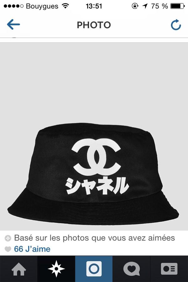 hat black white symbole chanel inspired summer fishing fashion bob chinese asian