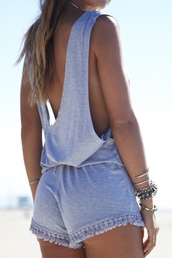 jumpsuit,backless romper,grey jumpsuit,zaful,tassel,tassels jumpsuits,romper,beach romper,backless jumpsuit,sleeveless romper,cute,hipster,boho chic
