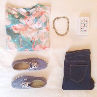 t-shirt blue jeans vans gold chain iphone shoes jeans flamingo