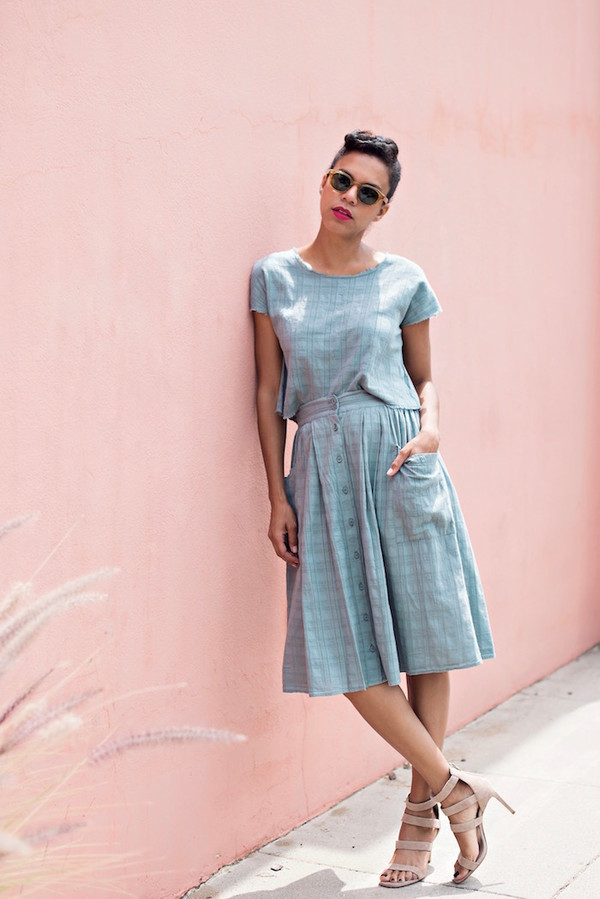 style me grasie blogger matching set blue skirt midi skirt blue top pastel blue retro summer outfits nude sandals