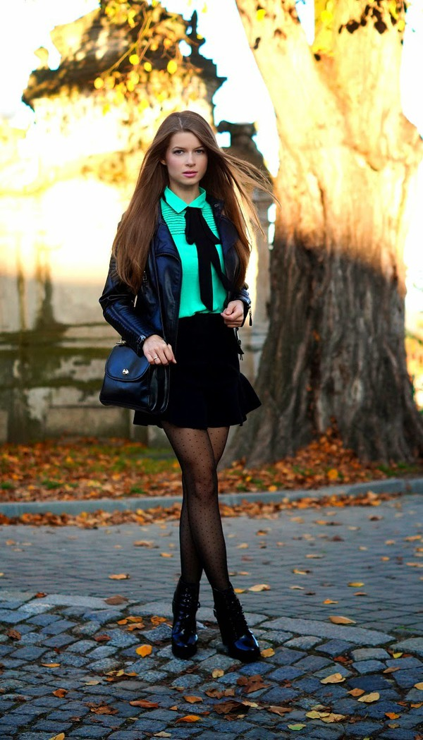 only my fashion style blogger jacket bag back to school tie tights leather jacket black skirt polka dot tights