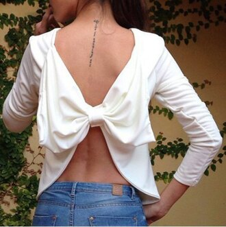 top bow white open back summer cute girly spring fashion flirty sexy crop tops adorable outfit long sleeves