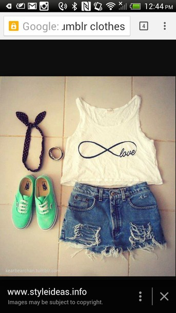 blouse wight crop top shorts ripped shorts top shoes mint green shoes