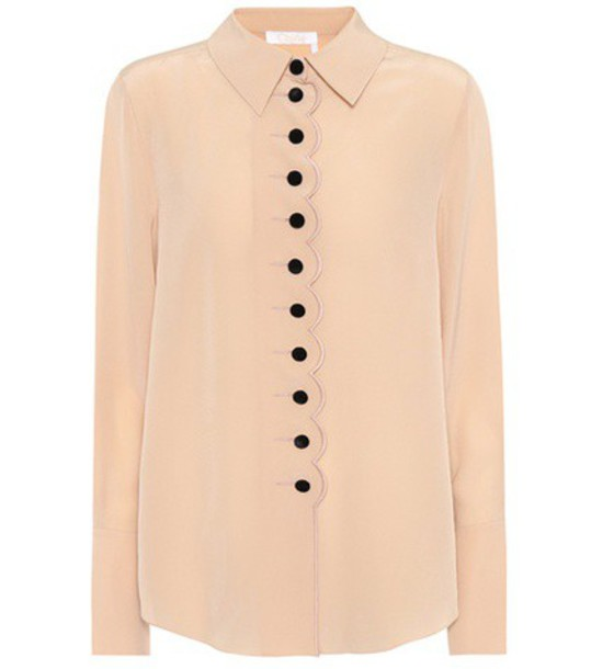 shirt silk beige top