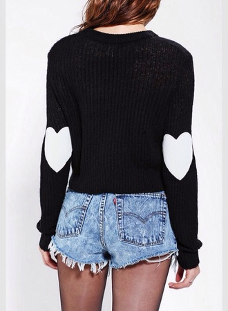 sweater black tumblr outfit cute heart elbow patches winter sweater heart sweater