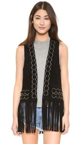 vest suede black jacket