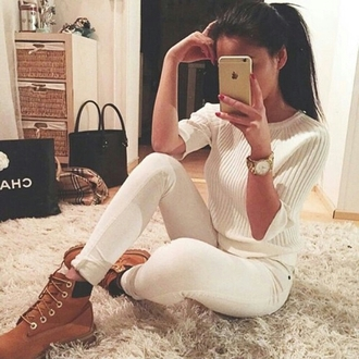 white sweater white pants timberland gold watch swag dope dope wishlist pants trendy fashion inspo coat sweater jewels