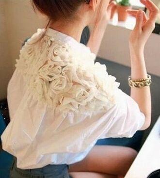 romantic cute floral vintage fashion indie white roses classy top blouse shirt retro flower shirt