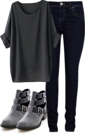 jeans grey shoes wedges staps t-shirt