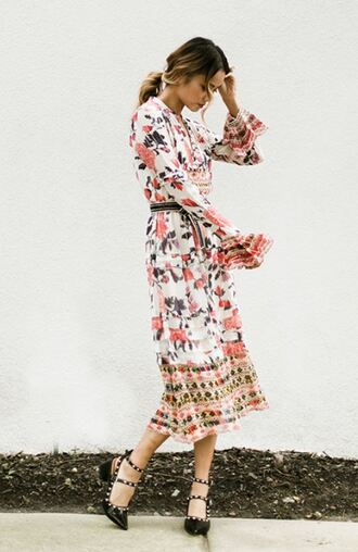 dress midi dress floral floral dress pumps fall outfits fall dress jamie chung blogger
