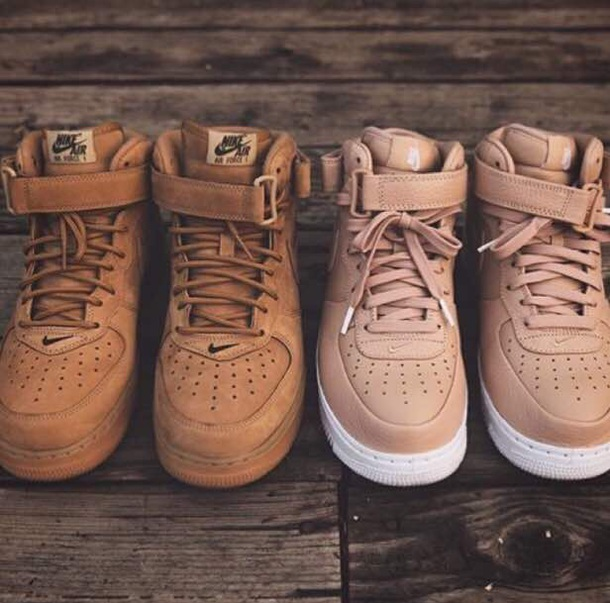 shoes brown pink nike hitop cute matching couples two airforce 1 amazing shoes