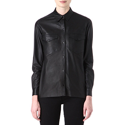 SANDRO - Choc leather shirt | selfridges.com
