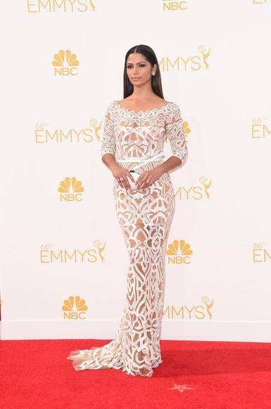 camila alves dress lace dress white dress emmys 2014