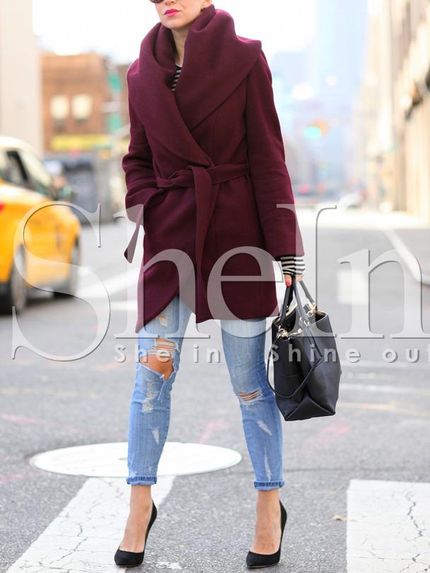 Burgundy Long Sleeve Pockets Coat -SheIn(Sheinside)