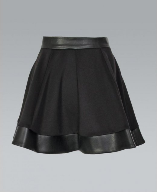 Misskrisp pu trim zip back skater skirt