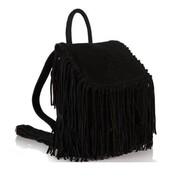 bag,black,backpack,suede boots,tassles