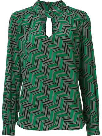 blouse women geometric silk green pattern top